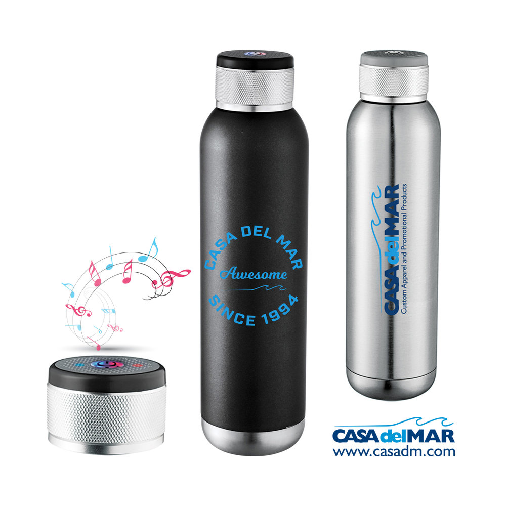 Re-useable Bottle, Water Bottle, Promotional Product, Bluetooth Speaker, San Diego, Embroidery, Screen Printing, Tradeshow Giveaways, Design, Del mar