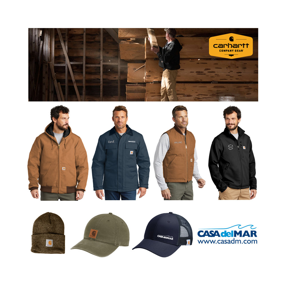 Embroidery, Carhartt, Work Wear, Hats, Beanies, Jackets, Vest, Rain Wear, T-Shirts, San Diego, Southern California, Construction