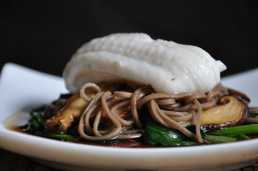 - Steamed plaice with soba noodles & Shitake