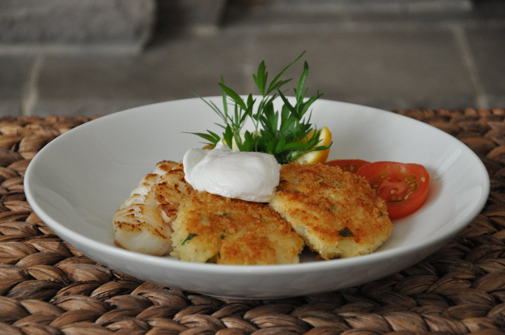 - Hake cakes with poached egg