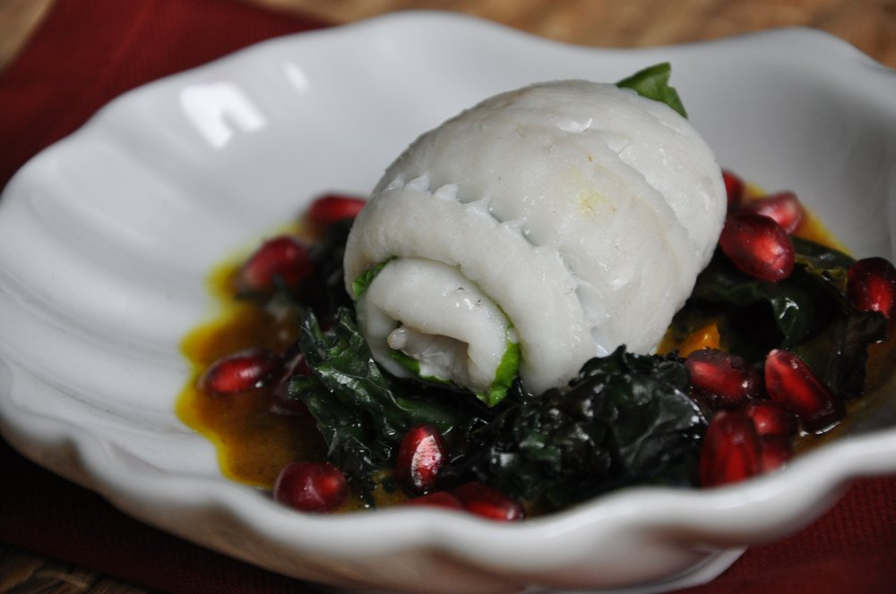 - Plaice rouleaded with curried greens & Pomegranate