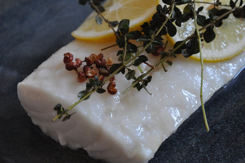 - Steamed MSC Cod with sichuan pepper, lemon & thyme
