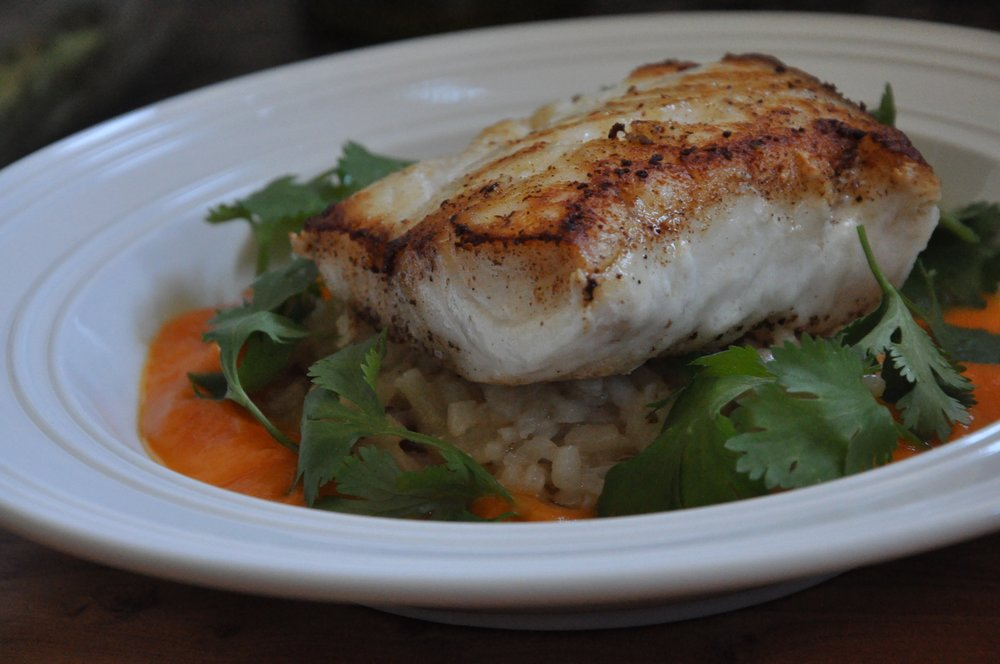 - Pan Roasted Cod with risotto and butternut squash puree