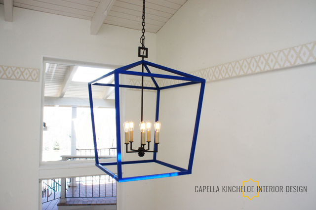 Big Blue Lantern by Capella Kincheloe interior Design