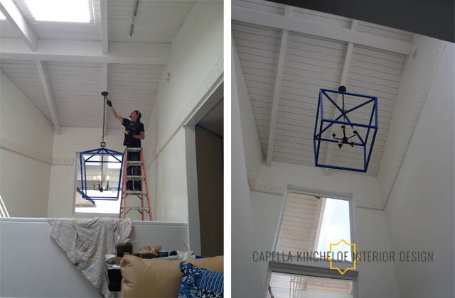 big blue lantern install by Capella Kincheloe Interior Design