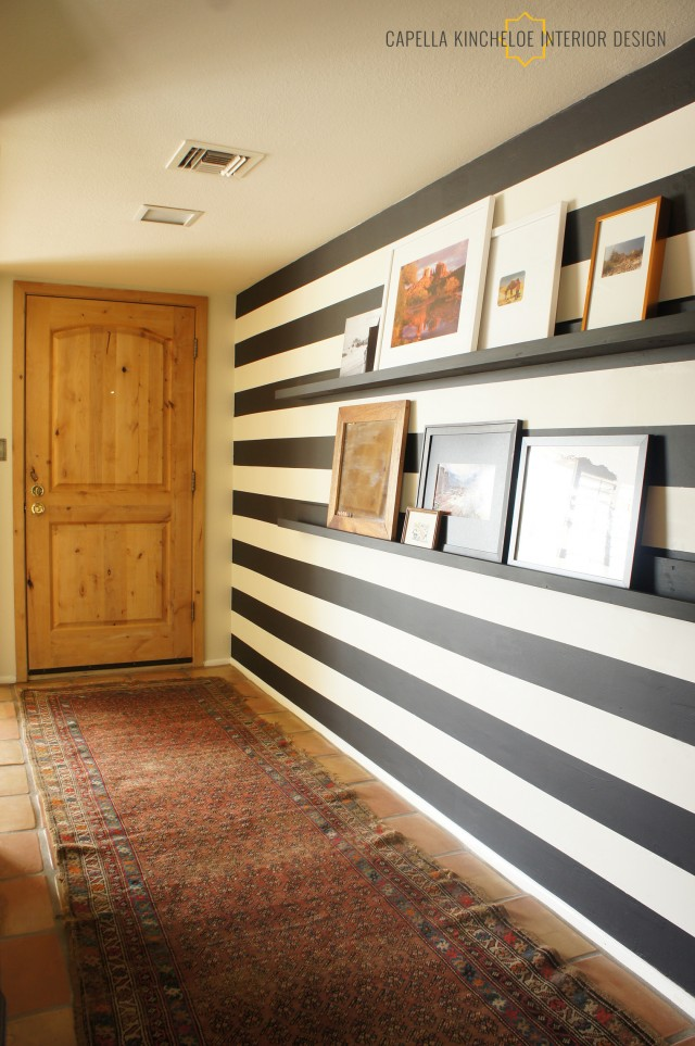 phoenix entry black & white stripes by Capella Kincheloe Interior Design