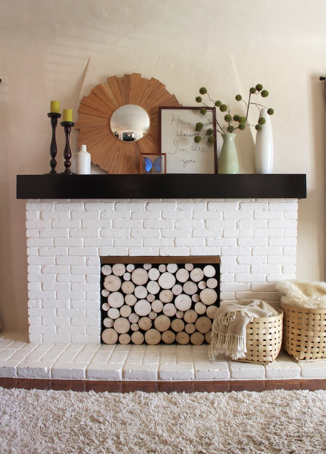 Pepper Design Blog faux fireplace logs featured on Capella Kincheloe Interior Design phoenix