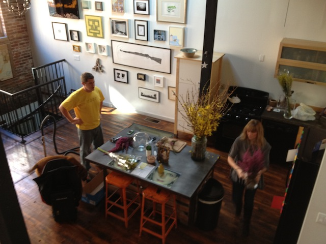 flower prep for industrial loft photoshoot by capella kincheloe interior design