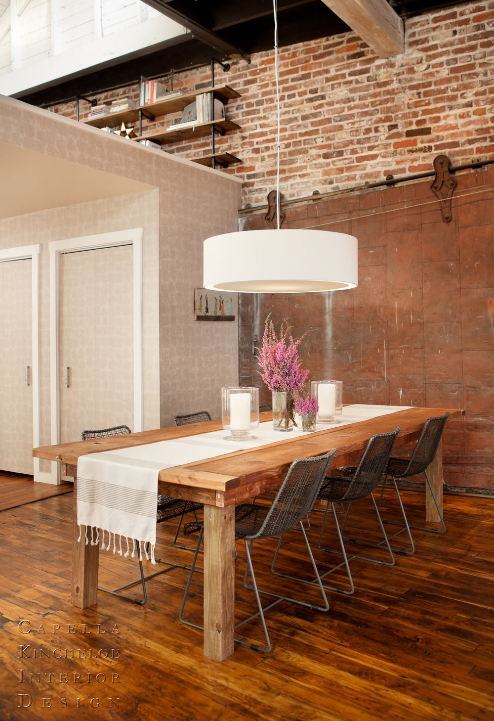 Warehouse living, dining room, open concept, loft, industrial dining room