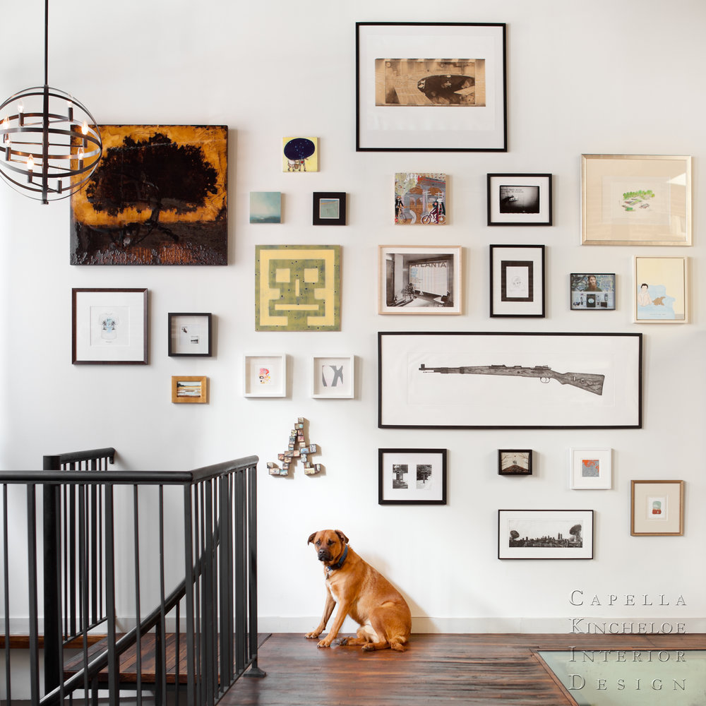 gallery wall in warehouse loft atlanta
