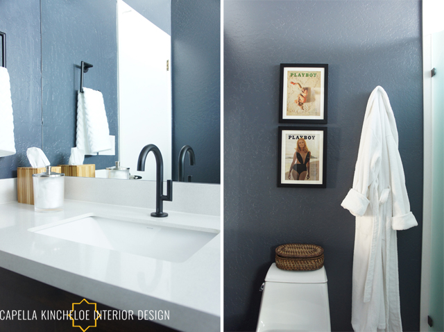 modern bachelor bathroom, blue walls, black fixtures, white quartz, masculine bathroom