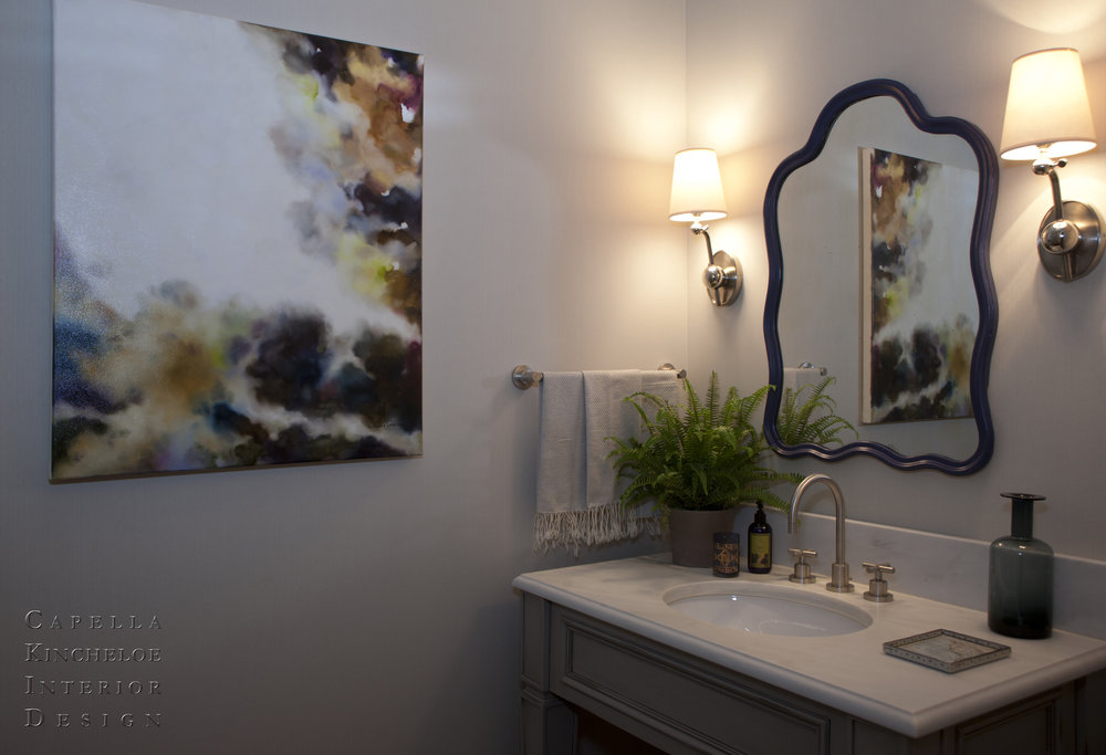 Powder bathroom, blue mirror, grey vanity, Jules Cozine art