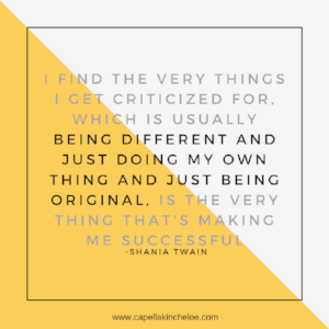 I find the very things I get criticized for, which is usually being different and just doing my own thing and just being original, is the very thing that is making me successful.