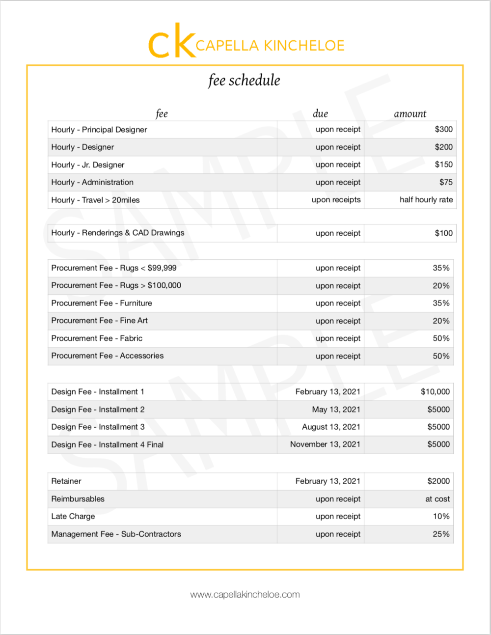 Fee Schedule For Interior Designers Capella Kincheloe