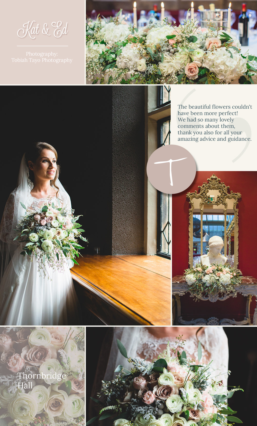 A beautiful Thornbridge Hall, Derbyshire wedding with flowers designed by Tineke