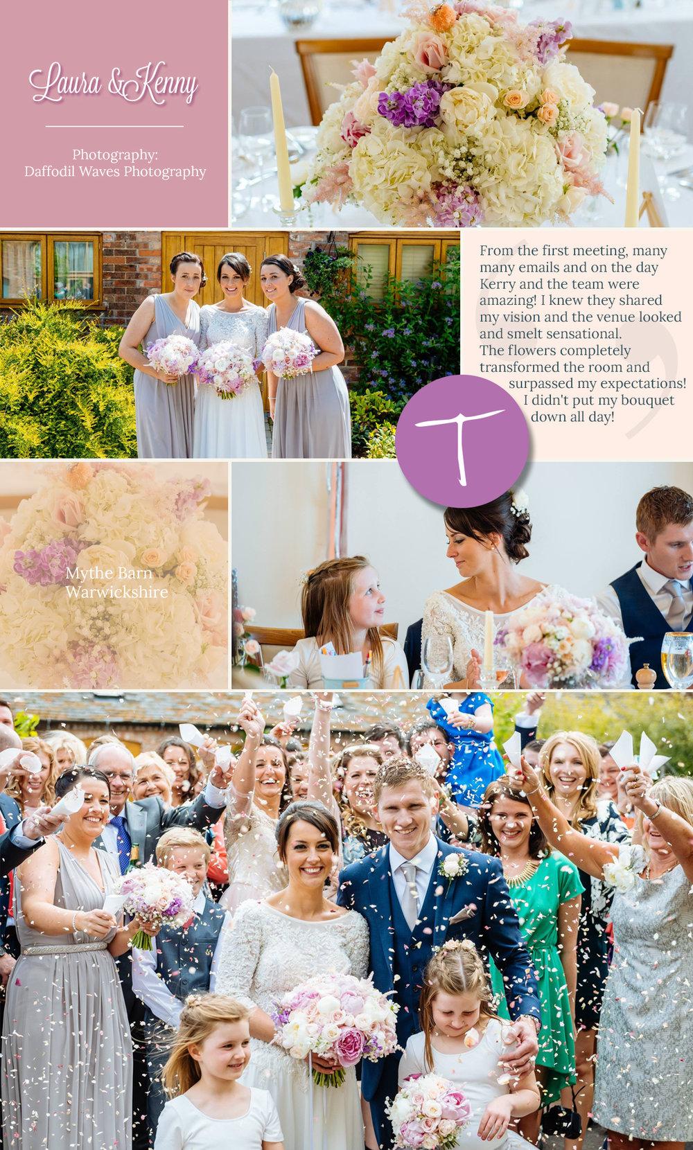 Mythe Barn, Warwickshire wedding flowers by Tineke based in Derbyshire.