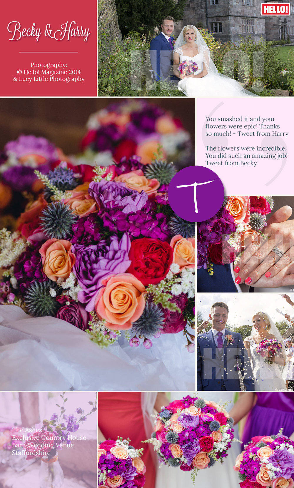Rebecca Adlington and Harry Needs vibrant wedding flowers by Tineke floral design in Derbyshire.