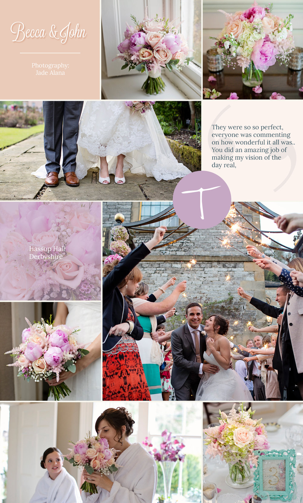 pink floral bouquet and table flowers by Tineke floral design in Derbyshire at Hassop Hall