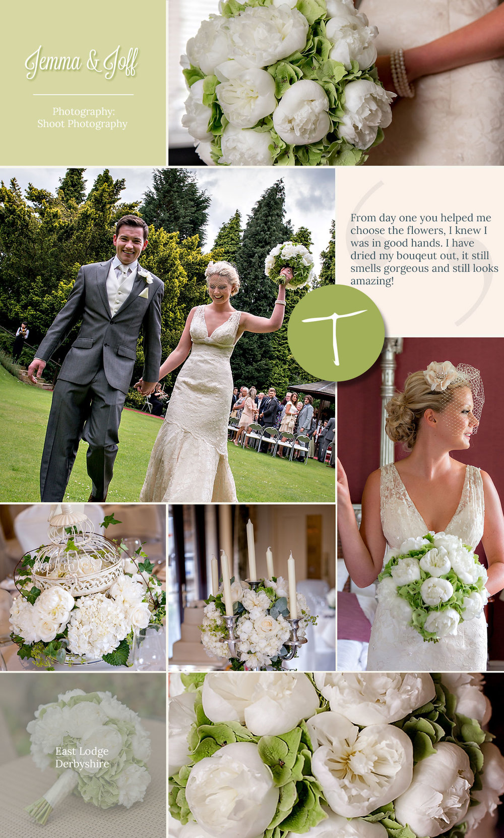 Elegant peonies for a East Lodge wedding created by award winning tineke floral designs in Derbyshire