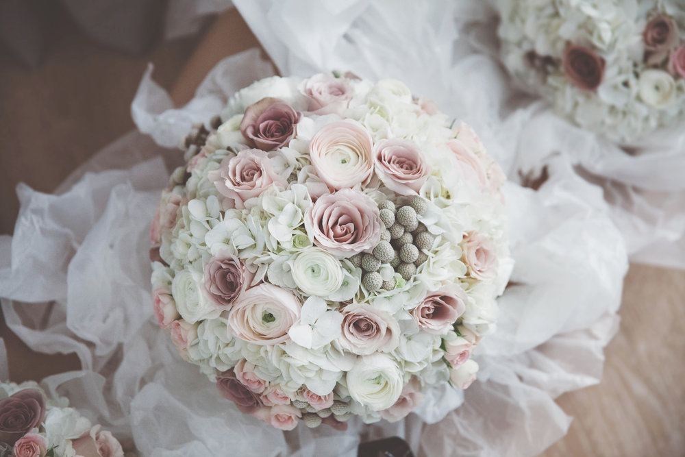 Soft pink and Hydrangea bridal bouquet at amalfi white, by award winning Derbyshire florist, Tineke