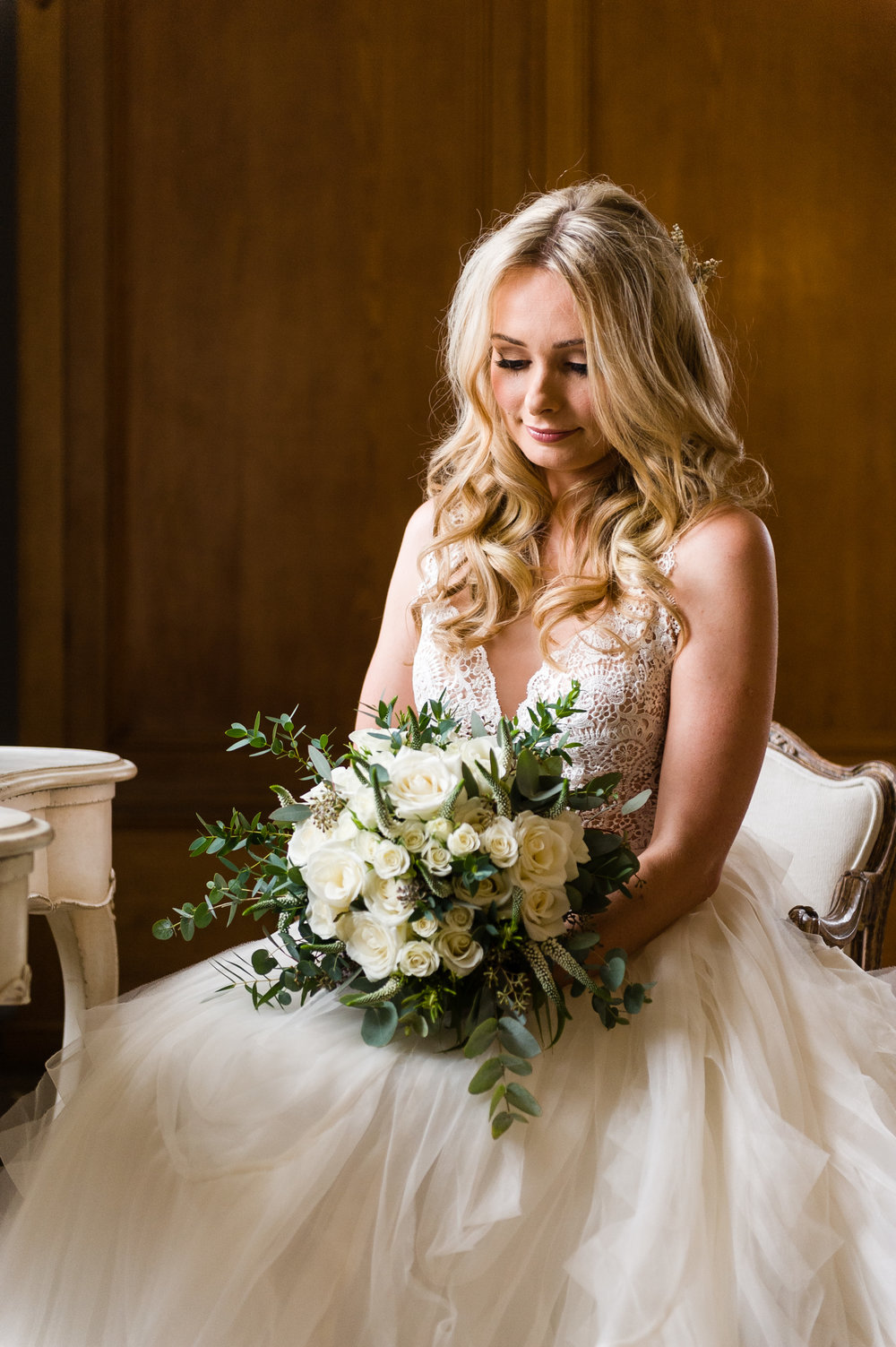Bridal flowers by Derbyshire florist Tineke for a wedding at Thicket Priory, Yorkshire