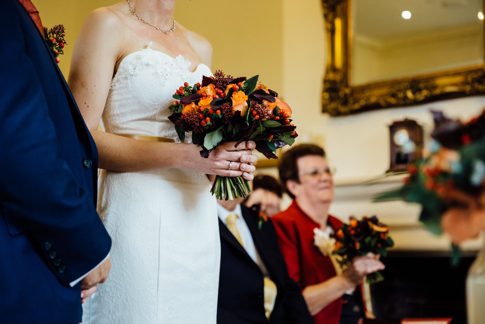 Autumn wedding flowers by Tineke Floral Designs in Derbyshire.