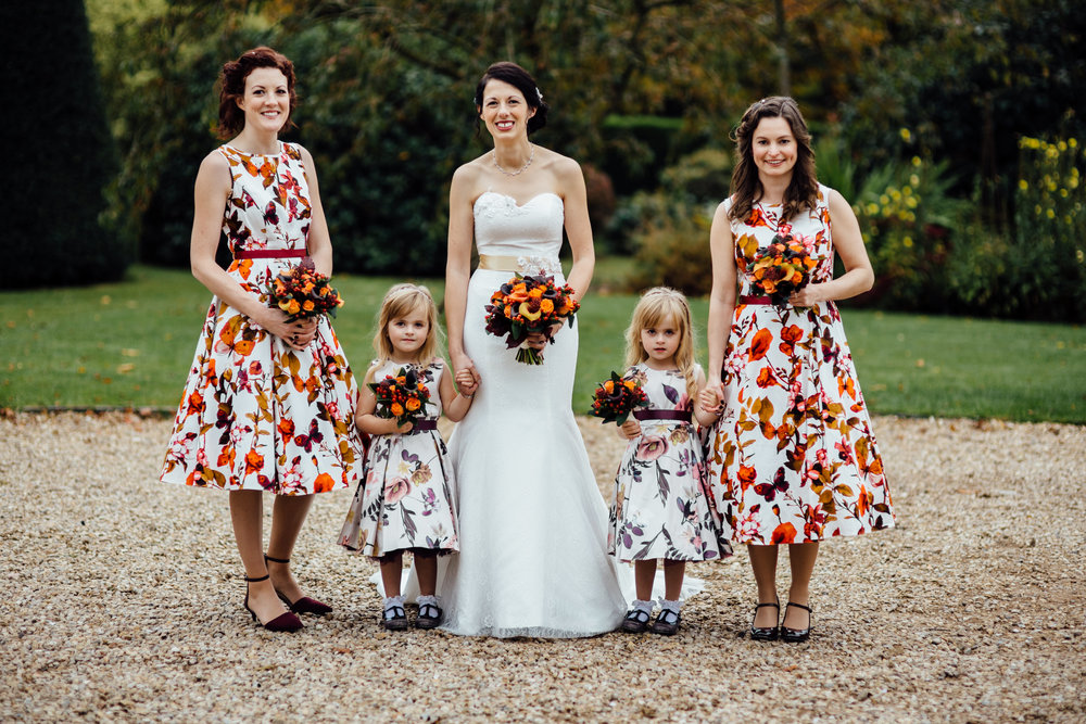 Autumnal bride and bridesmaid wedding flowers by Tineke Floral Designs in Derbyshire.
