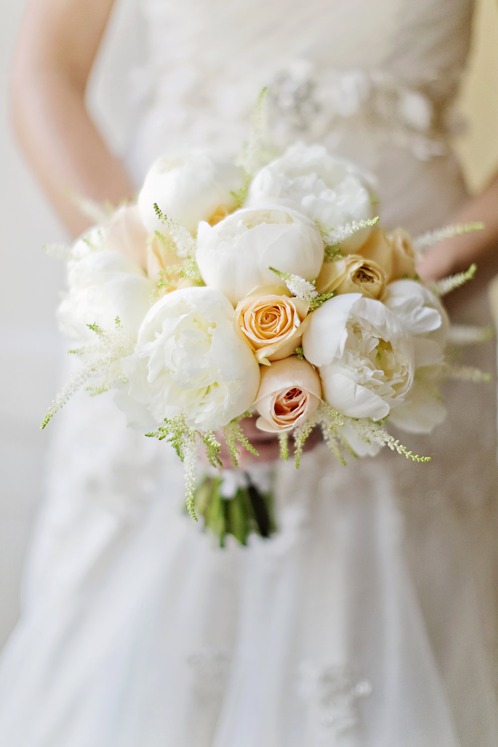 Bridal bouquet with peonies by award winning derbyshire florist, Tineke.