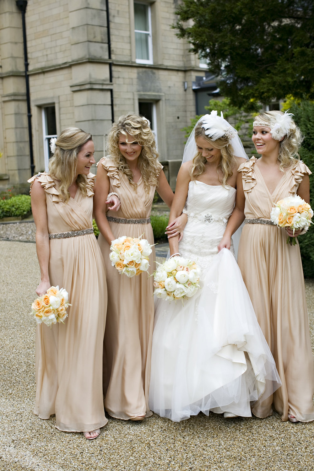 Peony bride and bridesmaid flowers from award winning Derbyshire florist, Tineke.