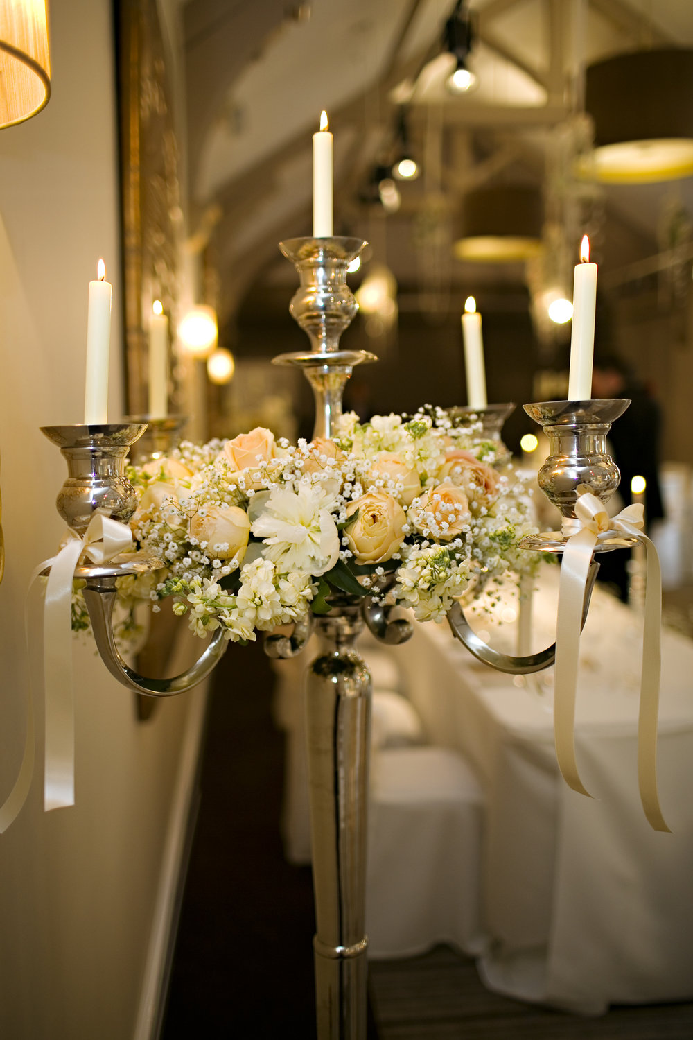 Wedding candelabras with peony wedding flowers for Stancliffe Hall by Honeysuckle and Castle wedding