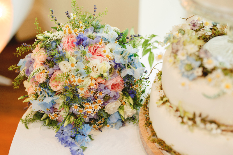 Summer time pastel wedding flowers. daisies, garden roses, delphiniums, lavender, Lisianthus, Nigellas, Thlaspi, Veronicas and Scabious