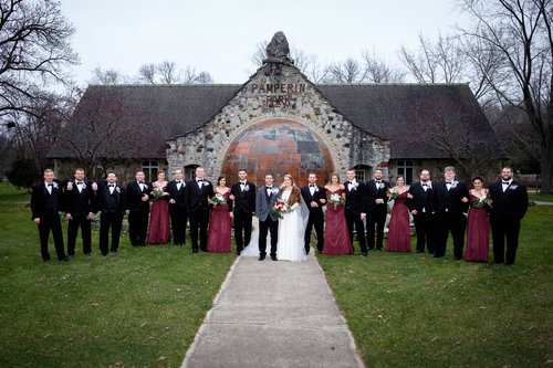 Large Wedding Party Portrait At Pamperin Park In Green Bay