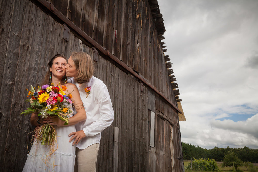 Intamate farm wedding outside of Waupaca, Wisconsin.
