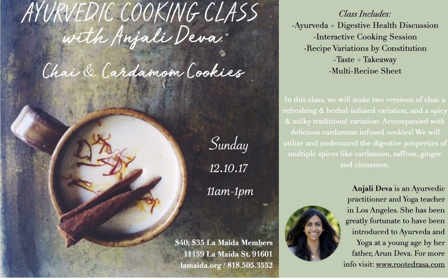 Ayurvedic Cooking Class — Rooted Rasa