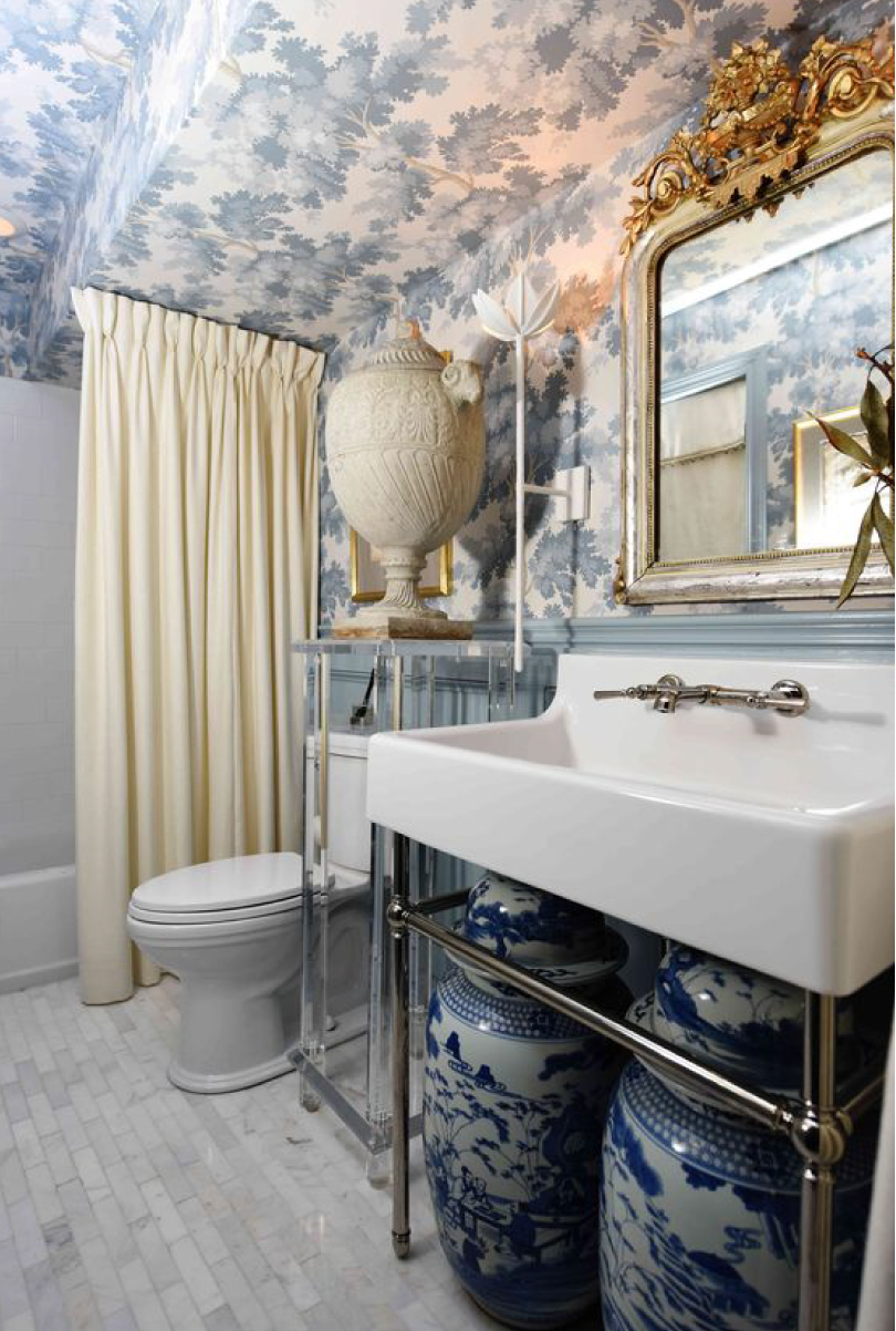 Diego Sconce in Betsey Hazard's Cottage Bathroom Design