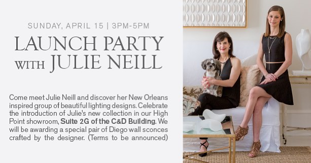 Come join us at our launch party! Today 3-5 at Visual Comfort! Let's celebrate our new collection! @visualcomfortco @julieneilldesigns  #hpmkt #hpmkt2018 #letsparty #chandeliers #sconces #lanterns #lamps #welovelighting