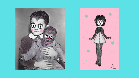 From concept to illustration. The first attempts at drawing cutie Eddie Munster in my style.