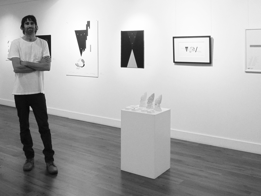 Matt Moriarty at Wallace Gallery exhibiting the Bone Park series in 2013.