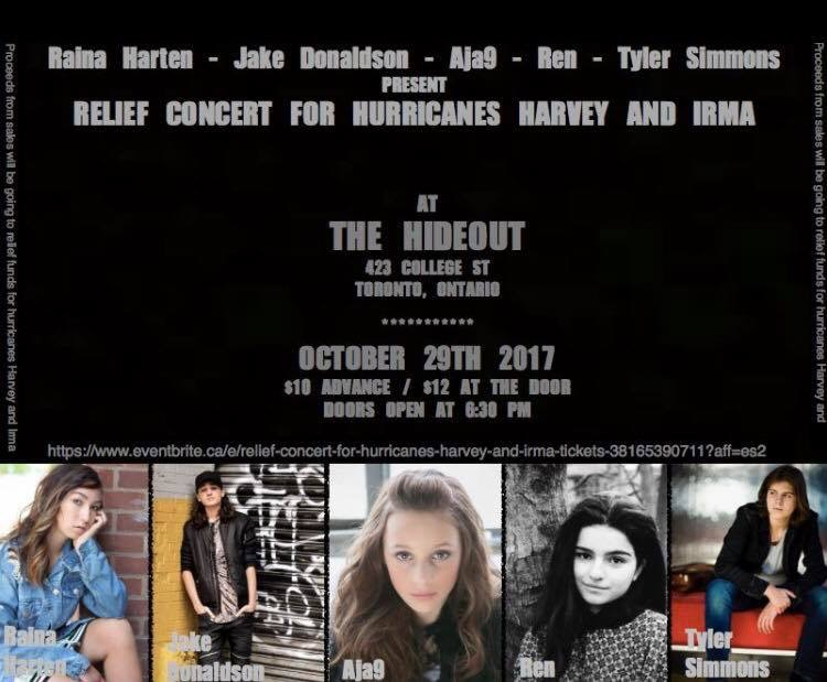 Please Join Us For A Night Of Awesome Music As Five Talented Young Artists Take To The Stage To Do What They Love Most And Help Others In Need. Portion Of Proceeds from Sales Donated To Relief Funds For Hurricanes Harvey And Irma.