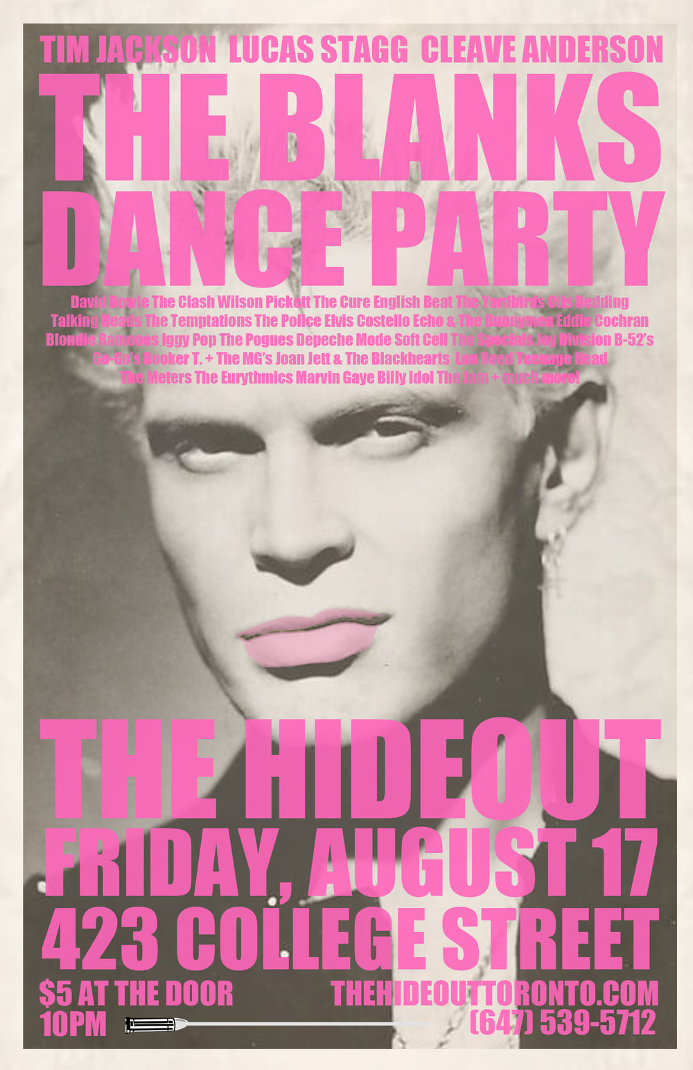 David Bowie The Clash Wilson Pickett The Cure English Beat Otis Redding Talking Heads Iggy Pop Booker T. & The MGs Blondie Billy Idol Marvin Gaye The Meters Ramones B-52's Eddie Cochran Eurythmics The Police The Temptations Depeche Mode Joan Jett & The Blackhearts Devo+ way more!! $5 at the door.