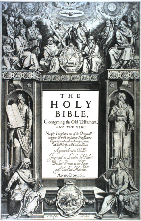 Title page of the King James Version of the Bible, 1611.