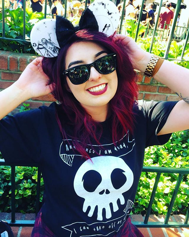 """Disney inspired, hand drawn, hand printed """"And since I am dead, I can take off my head"""" Tees on sale now! Available in the Etsy shop for a limited time! Super awesome Nightmare Minnie ears from @shophouseofmouse #disneyland #thehauntedmansion #halloween #nightmarebeforechristmas #christmaspresents #thenightmarebeforechristmas #jackskellington #disneyworld #disney #timburton #timburtontattoo #Christmas #halloweentime #disneyhalloween #disneychristmas #skull #halloweenmakeup #handmade #disneygirl #costume #cute #halloweencostume #disneylover #disneylovers #outfitoftheday #mickeymouse #disneyfan #mickeyears #minnieears"""