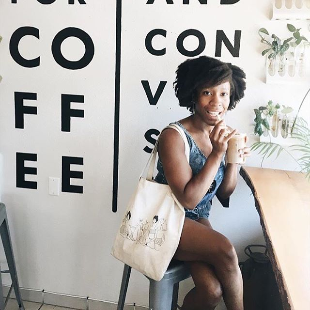 our love @jassyonyae takes her coffee with a side of #blackgirlmagic. just how we like it, too! we're SO excited to release the second item in our black girl magic collection soon. have any guesses as to what it is? #ivoryandashlife