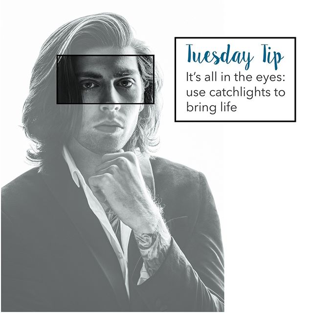 #Tuesdaytips - Sometimes we talk about people having a sparkle in their eyes. They appear to be interesting, alive, excited or happy. Their eyes may appear a little larger & reflect a little more light, especially if they think kindly of or are attracted to somebody. It is an incredibly appealing trait. We see this appeal changing our demeanour in lots of circumstances such as the reaction we give to babies whose eyes appear big and shiny.  In contrast, we think of someone with sunken or dark eyes as being ill, close to death, notorious, scary or even evil. Dark eyes bring a bad kinda mystery and are associated with horror movies or death's hollow skull (until Terry Pratchett made DEATH's sockets glow unearthly blue). If you want appealing portraits that bring joy, comfort, happiness, attraction and connection it is going to be super important to bounce light into and off the eyes! (Creating a broodingly mysterious or horror portrait maybe the darkness becomes your friend.) So if this is the why - what about the how? Move your light source or subject around until you can see light glinting off your subject's eyes. This glint or white reflection is called a catchlight.  Sometimes light from the side and a little bit above doesn't get deep enough into the eyes, especially older sunken eyes. Easy solution - find something bright white or shiny to hold below the eyes of your subject and bounce the light back up into their eyes (*double benefit it helps remove any dark undereye circles, make crows feet less pronounced and the skin look healthier). Home hacks include using a white T-shirt or sheet, some tinfoil or a white wall to reflect light back from the main light source (e.g. the sun or window light). If you've got a budget or want to become a photographer invest in the cheapest bit of kit that will make a huge difference - a reflector. You can pick up a cheap 5-in-1 round pop up reflector inc. white, silver, gold, black side & translucent disk for blocking harsh sunlight or softening other contrasty light for under £15.  Winning!  Tell me if you try this tip out how it works for you?  Wonderful model @dannyaronsonmodelling #Learnwithlizzy #photographytip