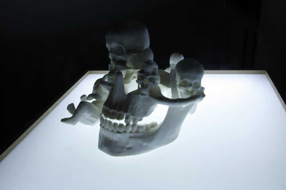 For A Change - 2018.A sculptural collage of clinically-lit skulls,3D-printed from warped MRI scans.