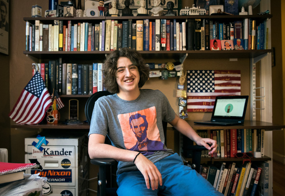 """I feel a sense of responsibility,"" the high school freshman said of his 2,000 or so newsletter subscribers and almost 5,000 Twitter followers. Credit: Nick Schnelle for The New York Times"