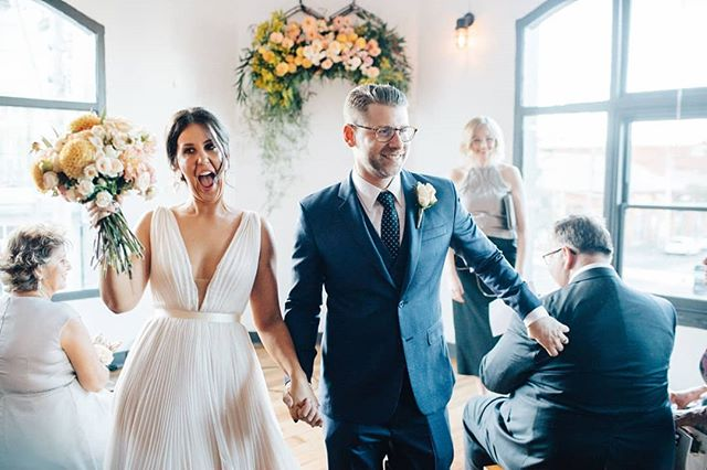Nothing more magical than the expression on the just married couple's face! 🤗 So well captured here by the amazing @timothymarriage .  Ceremony styling // @curated_events  Venue // @thecraftandco  Celebrant // @katemorgan.celebrant Brides gown // @andreagorriebridalcouture Florals // collab between groom's aunty and yours truly  Photo // @timothymarriage . . . . . . . . . #caseysweddingfeatgeorge #modernbride #modernwedding #ceremony #ceremonyinspo #weddingstyle #wedding #bride #groom #thecraftandco