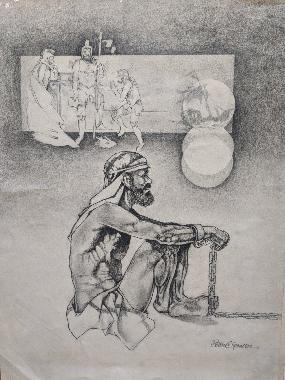 Paul in Chains. - Graphite on textured paper and mounted.Peter C. Spencer original hand-drawn illustration. Biblical imagery. Property of Peter C. Spencer (c).