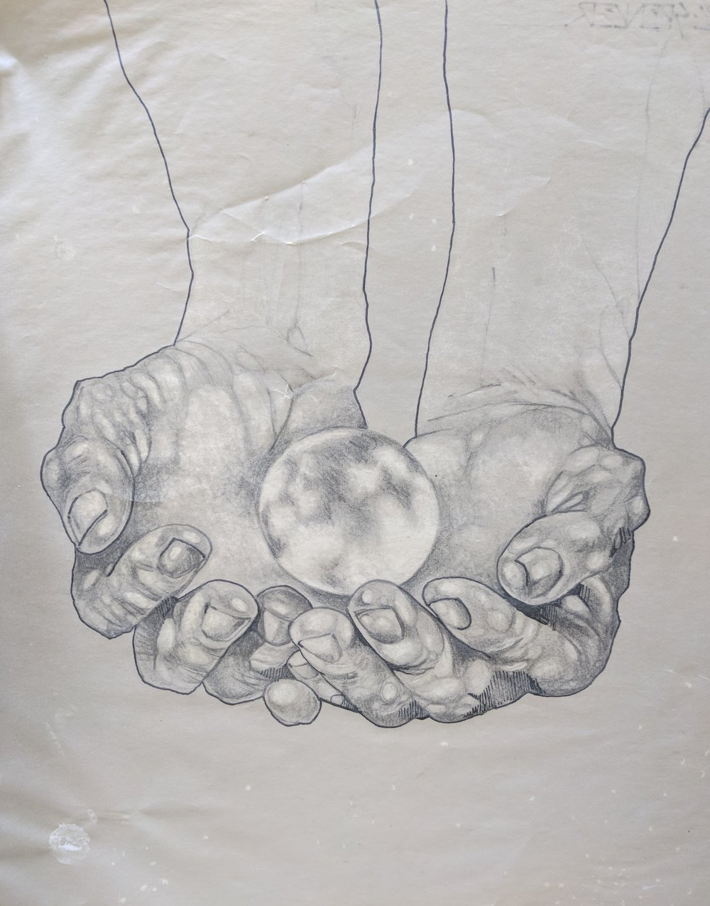In His Hands. - Graphite and white pencil on transfer paper. Peter C. Spencer original hand-drawn illustration. Biblical imagery. Property of Peter C. Spencer (c).
