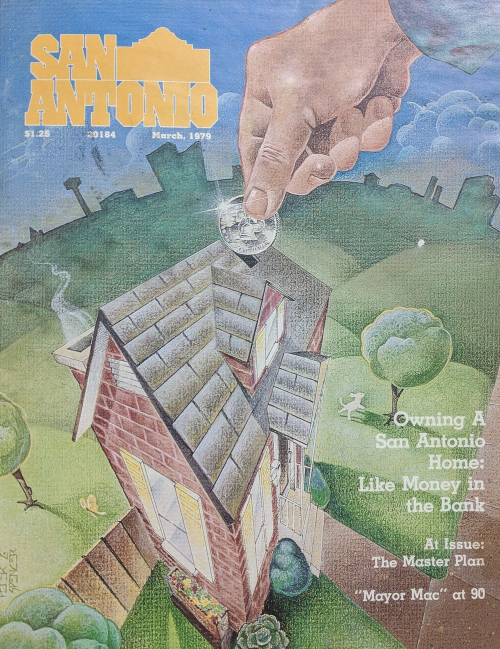 Cover Design: San Antonio Magazine - Peter C. Spencer mixed media published cover for San Antonio Magazine. Peter C. Spencer original hand-drawn illustration. Property of Peter C. Spencer (c).